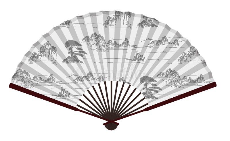 Fã chinês tradicional antigo com montanhas e nuvens Paingting, paisagem, Paradise ilustração royalty free
