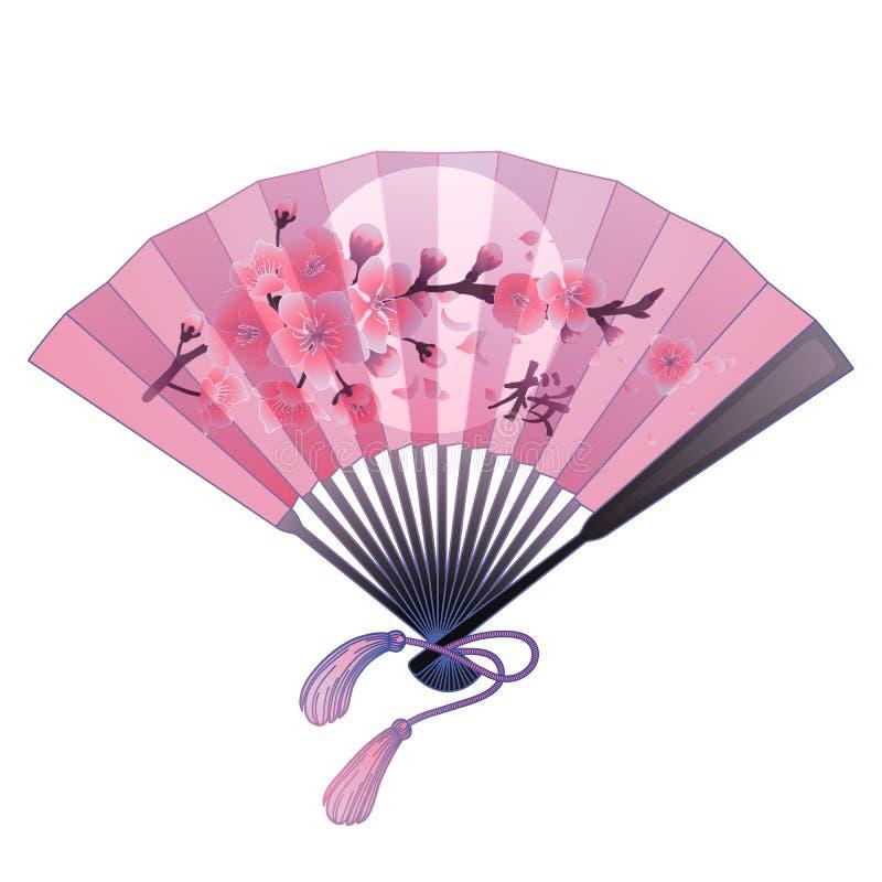 Fã com decoração floral ilustração stock