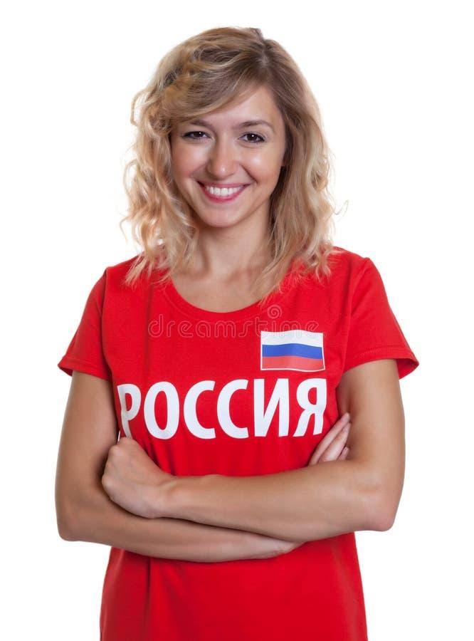 Fã de futebol bonito do russo fotografia de stock