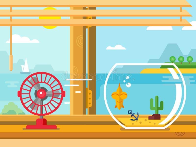 Fã e aquário na soleira ao lado da janela aberta ilustração do vetor