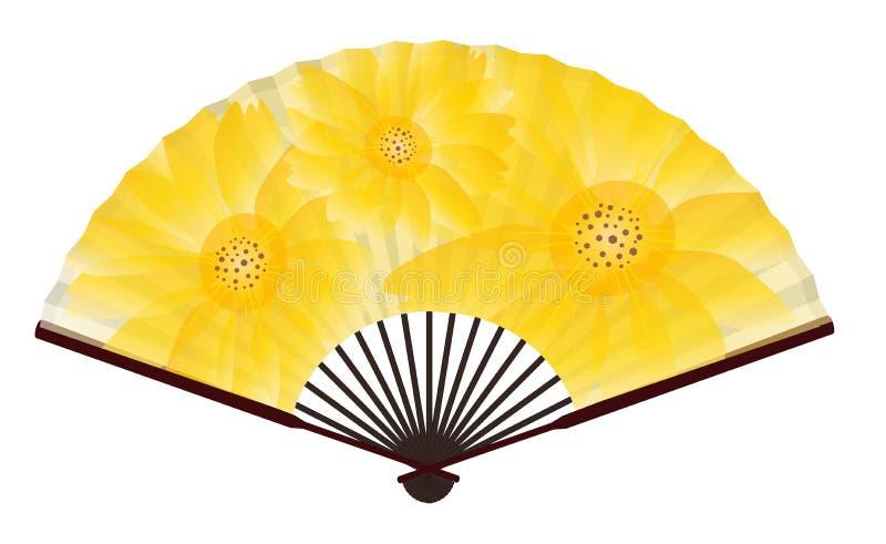 Fã japonês tradicional antigo com pintura do crisântemo ilustração royalty free