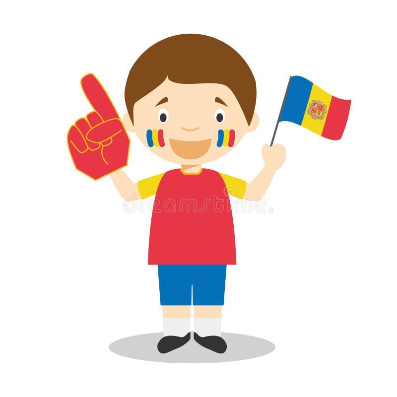 Fã nacional da equipe de esporte de Andorra com ilustração do vetor da bandeira e da luva ilustração stock