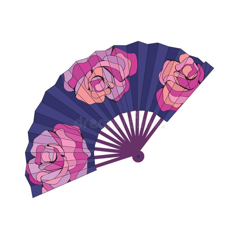 Fã oriental decorado com flores das rosas ilustração do vetor