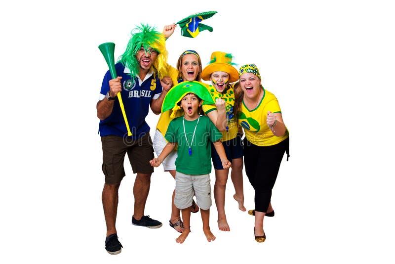 Fãs brasileiros que cheering sobre foto de stock royalty free