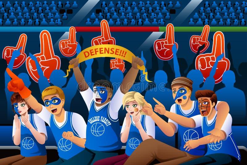 Fãs de basquetebol que Cheering o estádio interno ilustração do vetor