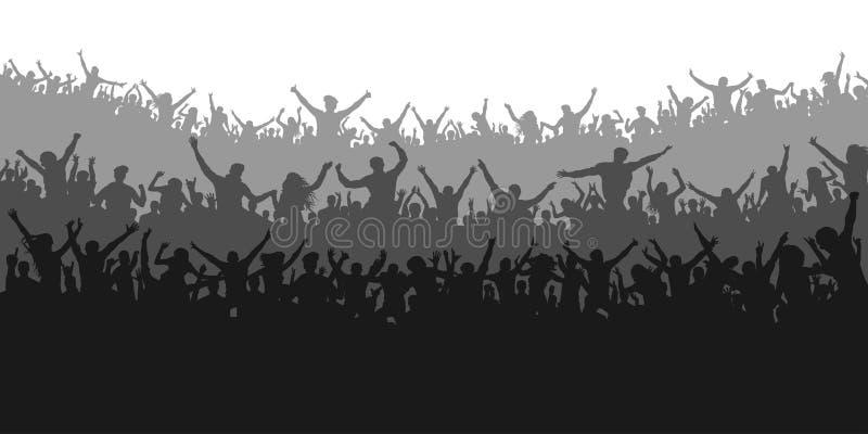 Fãs de esportes do aplauso Concerto Cheering dos povos da multidão, partido ilustração royalty free