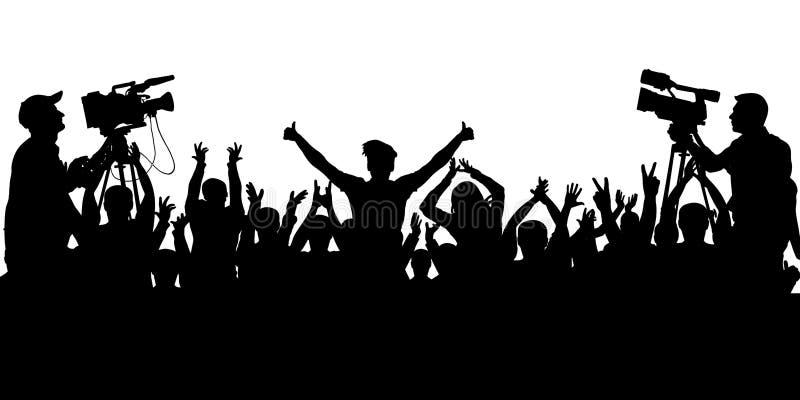Fãs de esportes do aplauso Concerto Cheering dos povos da multidão, partido Vetor isolado da silhueta do fundo ilustração stock