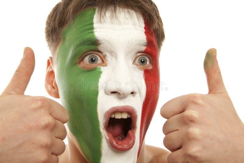 Fãs italianos no estádio Futebol, fã de futebol Isolado imagens de stock
