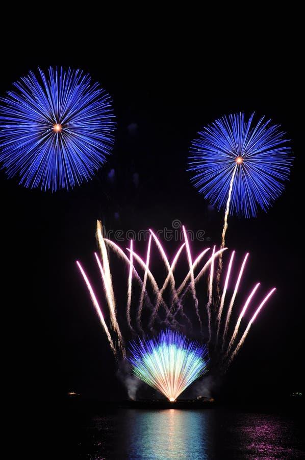 Fächerförmig plus vollkommene Kugel Feuerwerke stockbilder