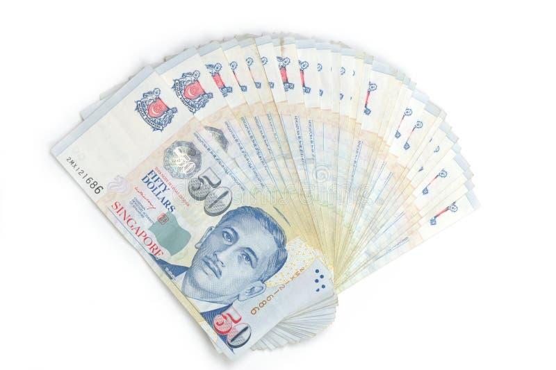 Fächerförmige Singapur-Dollaranmerkungen stockbild