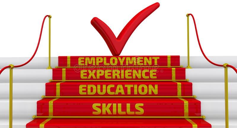 Fähigkeiten, Bildung, Erfahrung, Beschäftigung Die Aufschrift auf den Schritten vektor abbildung