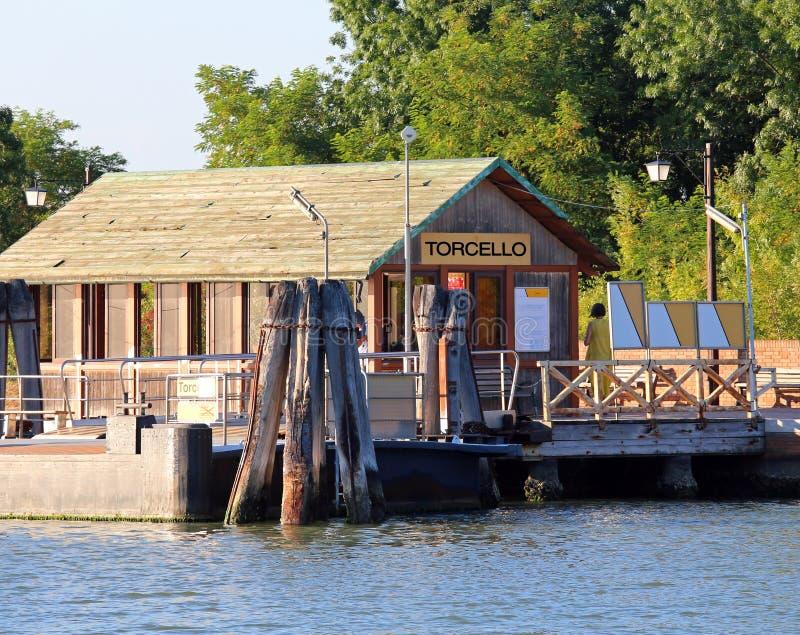 Fähren-Halt in Torcello eine kleine Insel nahe Venedig stockbilder