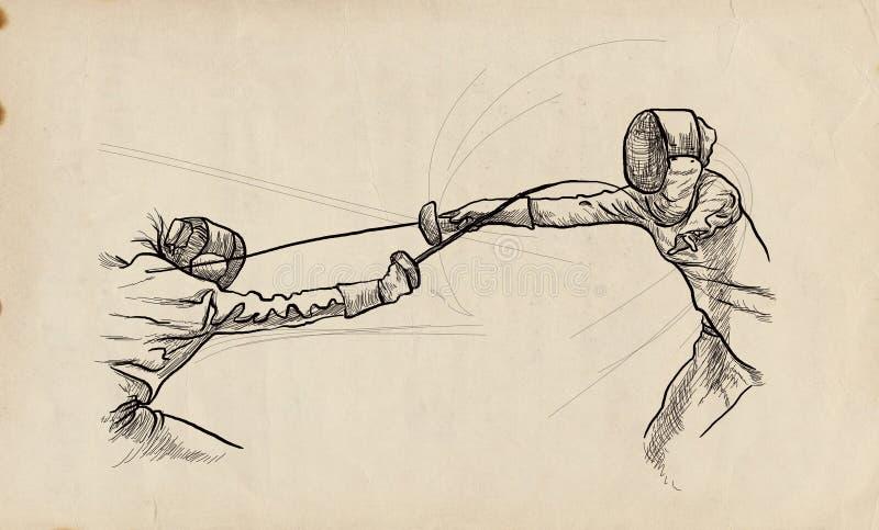 Fäktning - en utdragen illustration för hand Freehand skissa stock illustrationer