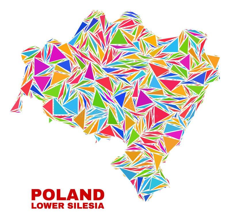Fäll ned den Silesian Voivodeship översikten - mosaik av färgtrianglar royaltyfri illustrationer