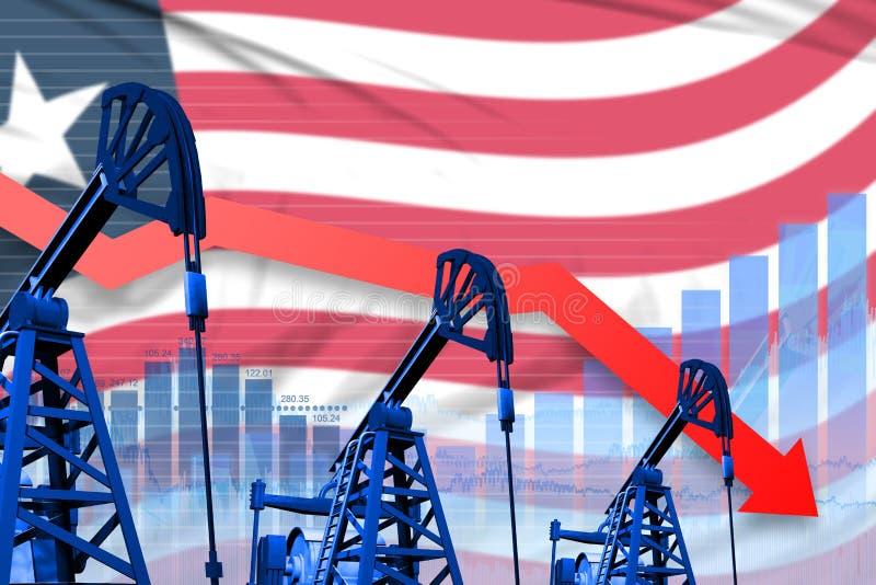 Fälla ned, fallagraf på Liberia flaggabakgrund - industriell illustration av Liberia oljeindustri eller marknadsbegreppet 3d vektor illustrationer