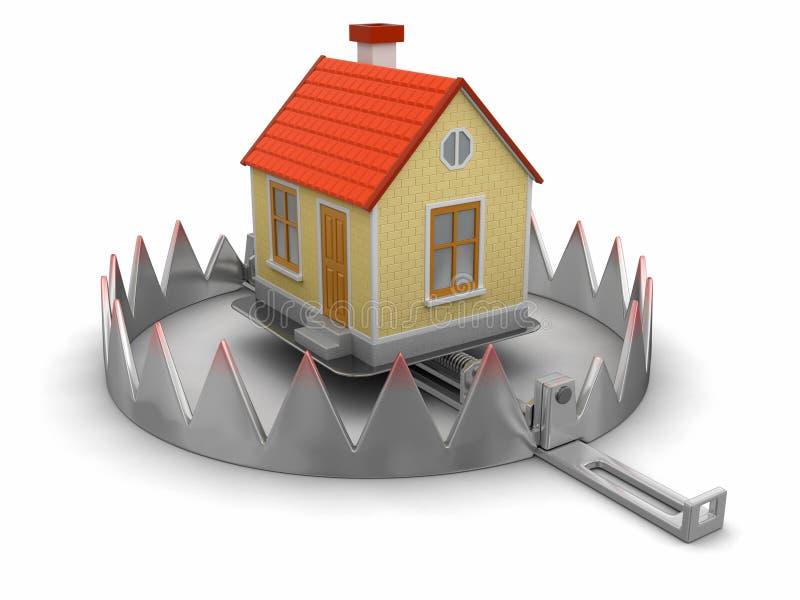 Fälla och hus (den inklusive snabba banan) royaltyfri illustrationer