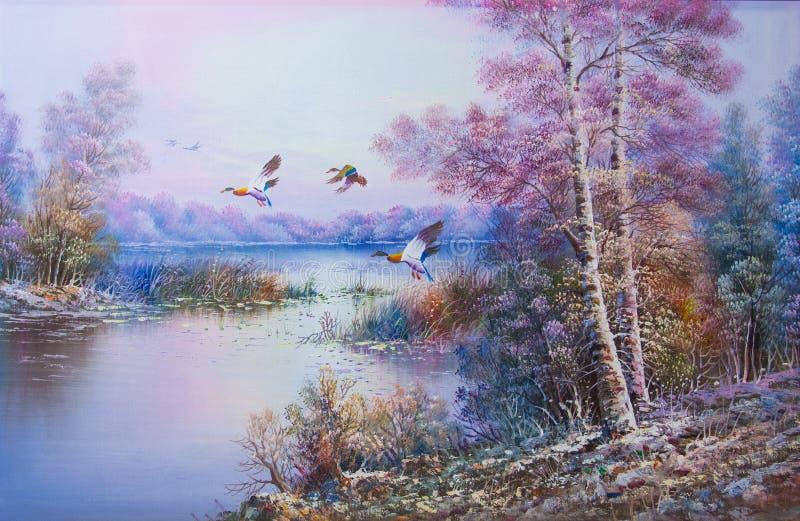 Fälle in den Winter mit den fliegenden Vögeln - Ölgemälde stockbild