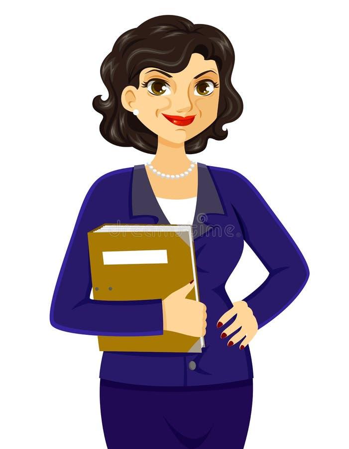 Fällige Geschäftsfrau stock abbildung
