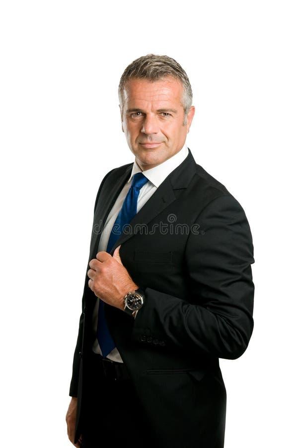 Fälliger Geschäftsmann satisified lizenzfreies stockfoto