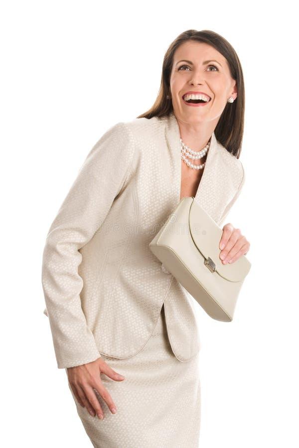 Fälliges Lachen der eleganten Frau stockbilder