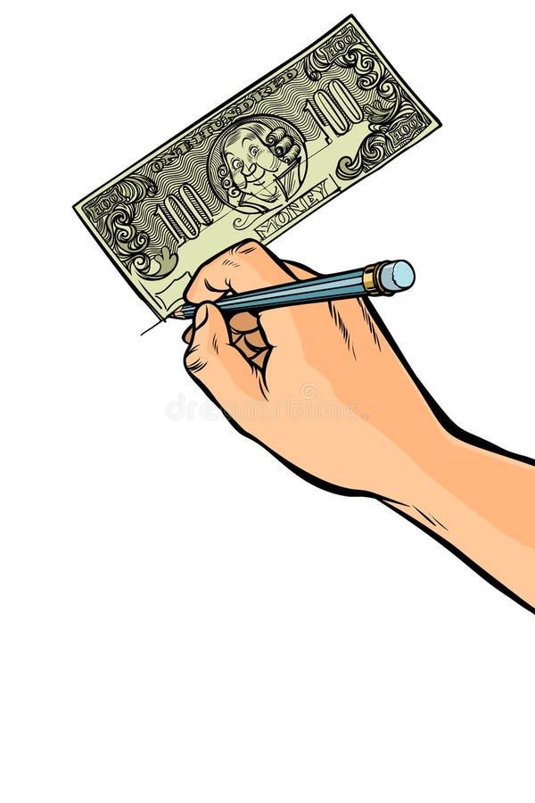 Fälscher zeichnet Gelddollar lizenzfreie abbildung