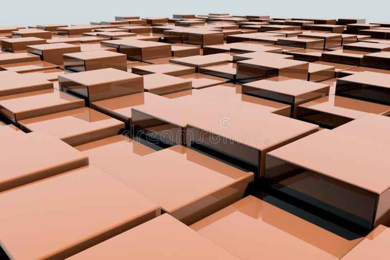 Fält av kuber för apelsin 3d 3d framför image vektor illustrationer