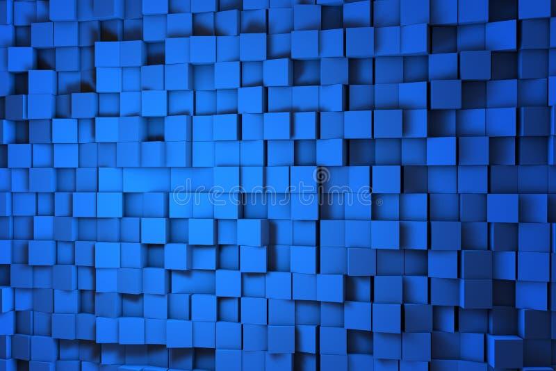 Fält av kuber för blått 3d 3d framför image royaltyfri illustrationer