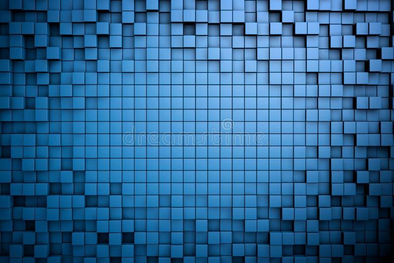 Fält av kuber för blått 3d 3d framför image stock illustrationer