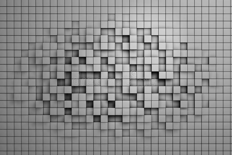 Fält av kuber för grå färger 3d 3d framför image stock illustrationer