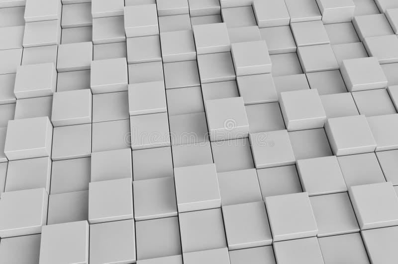 Fält av kuber för vit 3d 3d framför bakgrundsbild vektor illustrationer
