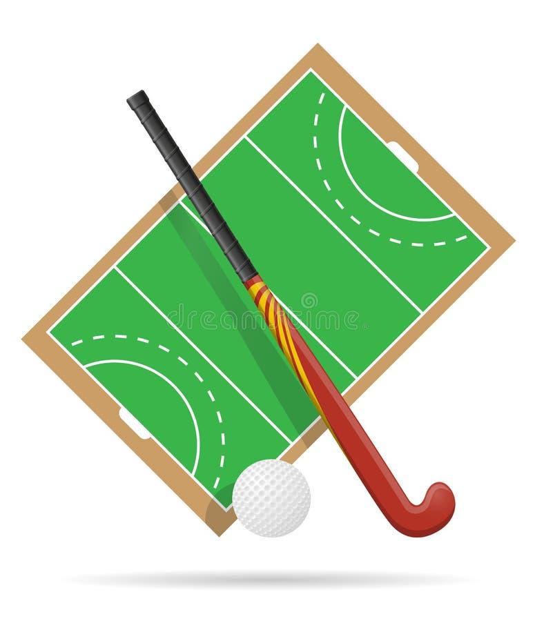 Fält av lek i hockey på gräsvektorillustration royaltyfri illustrationer