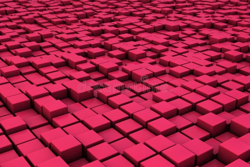 Fält av röda kuber 3d 3d framför image royaltyfri illustrationer