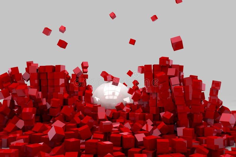 Fält av röda kuber som förstörs av den stora vita bollen vektor illustrationer