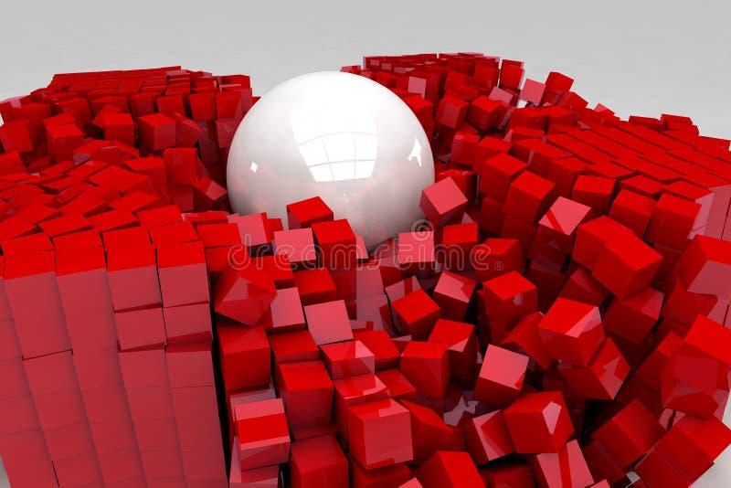 Fält av röda kuber som förstörs av den stora vita bollen royaltyfri illustrationer