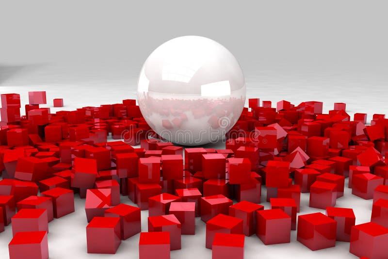 Fält av röda kuber som förstörs av den stora vita bollen stock illustrationer