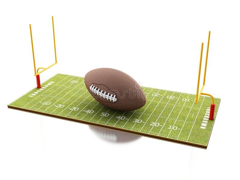 fält för amerikansk fotboll 3d med bollen vektor illustrationer