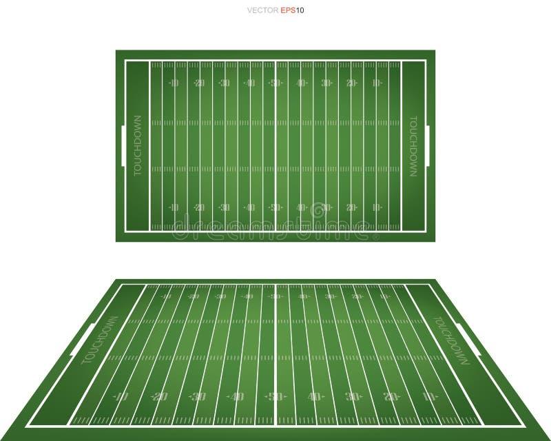 Fält för amerikansk fotboll med linjen modellområde för bakgrund royaltyfri illustrationer