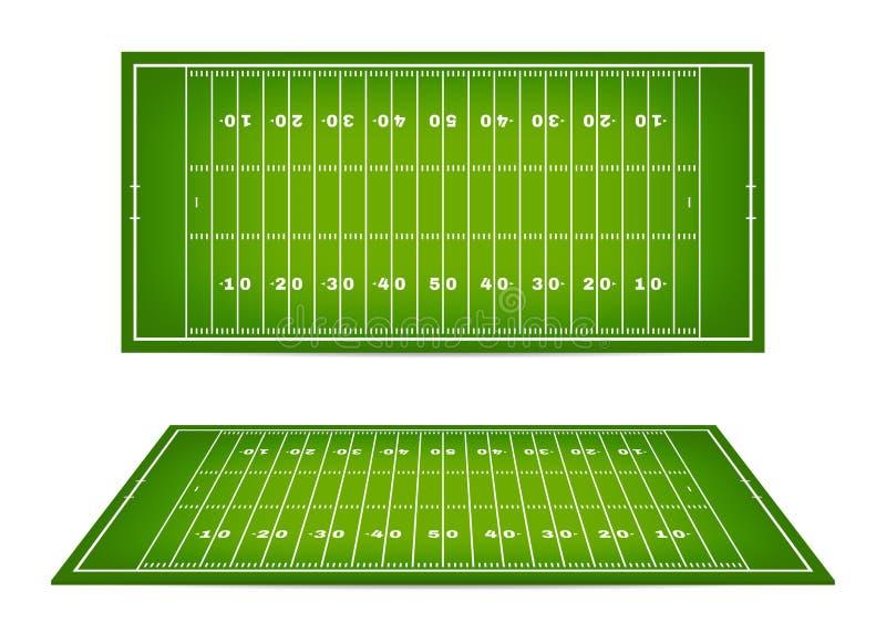 Fält för amerikansk fotboll med markeringen Fotbollfält med vinst i bästa sikt och sikt för perspektiv 3d vektor illustrationer