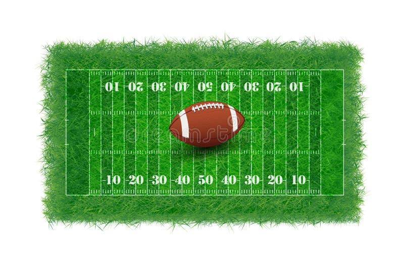 Fält för amerikansk fotboll med texturerat verkligt gräs, royaltyfri illustrationer
