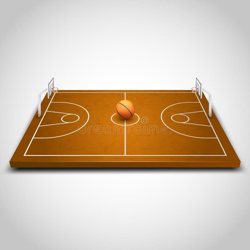 Fält för basket 3d stock illustrationer