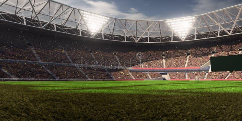 Fält för fotboll för aftonstadionarena arkivfoton