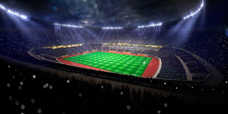 Fält för fotboll för nattstadionarena royaltyfri illustrationer
