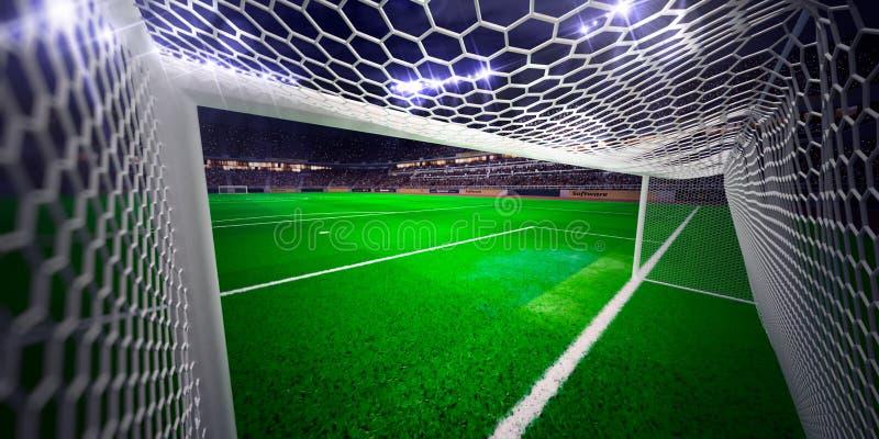 Fält för fotboll för nattstadionarena royaltyfri bild