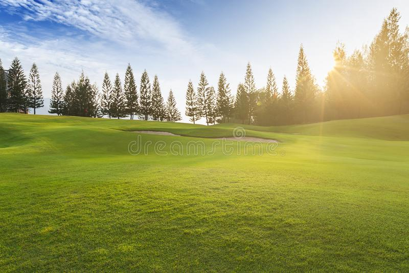 Fält för grönt gräs på blå himmel för kullar med moln trees f?r sand f?r golf f?r flagga f?r h?stf?rgf?lt royaltyfri bild