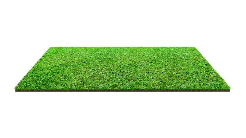 Fält för grönt gräs som isoleras på vitt med urklippbanan Konstgjord gräsmattagräsmatta för sportbakgrund fotografering för bildbyråer