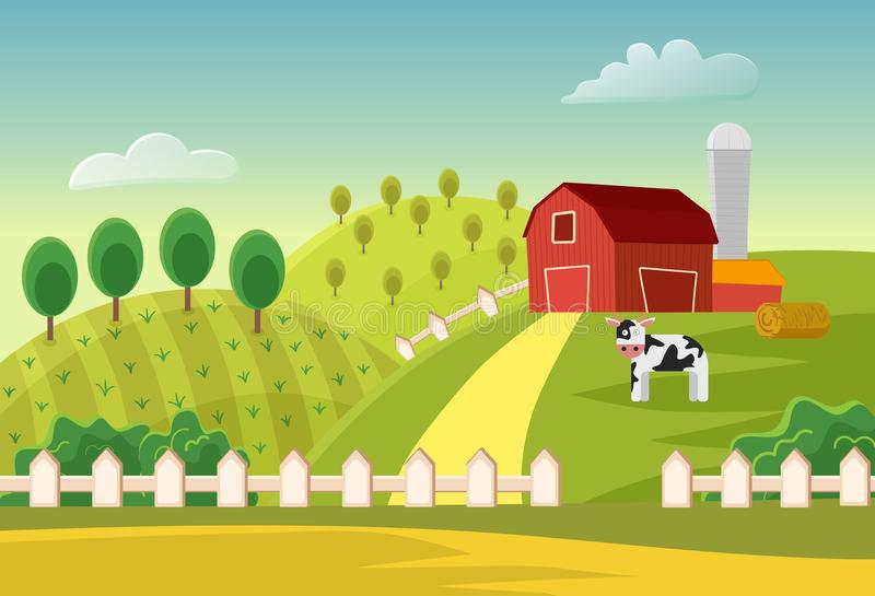 Fält för landskap för tecknad filmvektorlantgård med den bondebyggnader och kon Lantgårdlägenhetlandskap stock illustrationer
