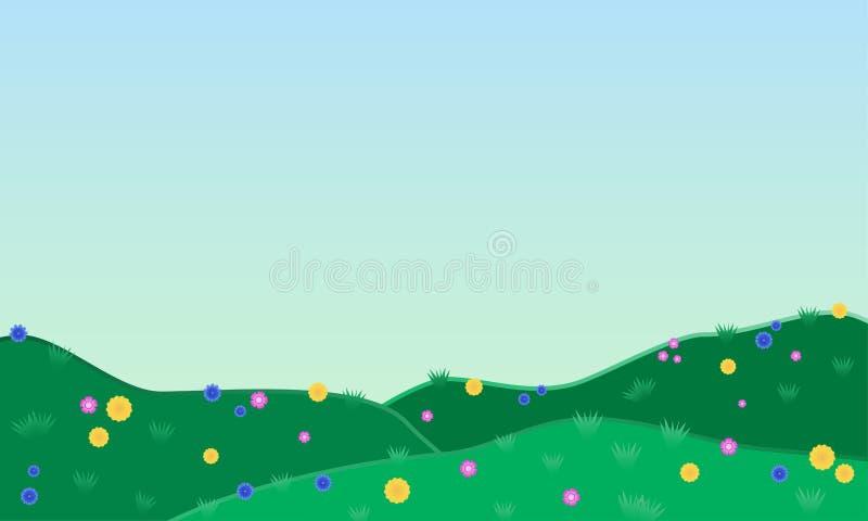 Fält och kullar med blåklinter, maskrosor och nejlikor vektor royaltyfri illustrationer