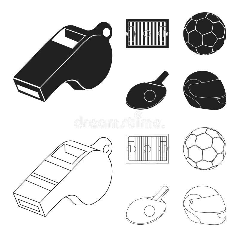 Fält stadion med teckning för att spela fotboll, fotbollboll, racket med en boll för bordtennisen, skyddande hjälm stock illustrationer
