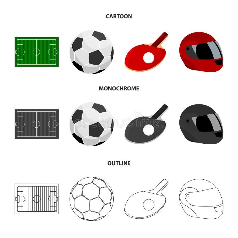 Fält stadion med teckning för att spela fotboll, fotbollboll, racket med en boll för bordtennisen, skyddande hjälm vektor illustrationer