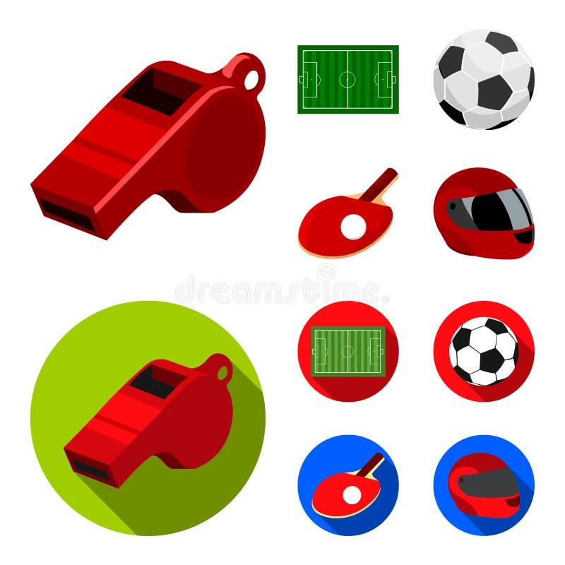 Fält stadion med teckning för att spela fotboll, fotbollboll, racket med en boll för bordtennisen, skyddande hjälm royaltyfri illustrationer